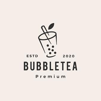Illustrazione d'annata dell'icona di logo dei pantaloni a vita bassa del tè della bolla
