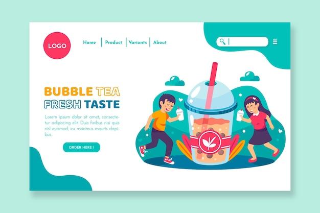Design della pagina di destinazione del tè alle bolle
