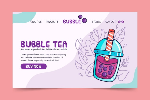 Pagina di destinazione del bubble tea