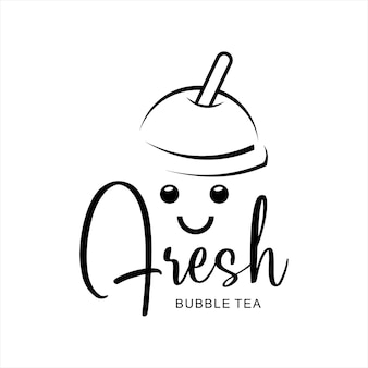 Bubble tea logo boba milk shake design carino