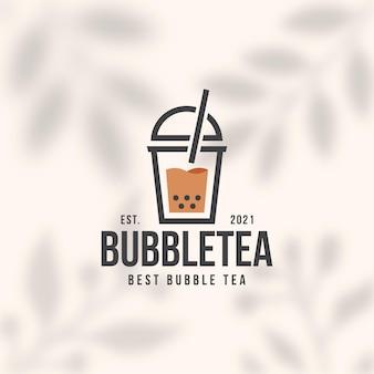 Modello di logo di bubble tea