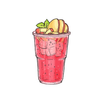 Bubble tea o cocktail estivo di ghiaccio con condimenti di frutta in vetro