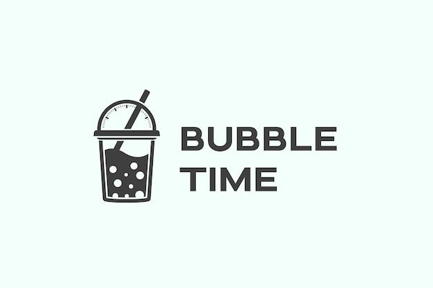 Modello di progettazione di logo di tempo di bolla Vettore Premium