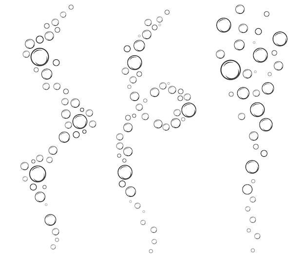 Bolle di bevanda gassata aria o sapone flussi d'acqua verticali illustrazione vettoriale di contorno