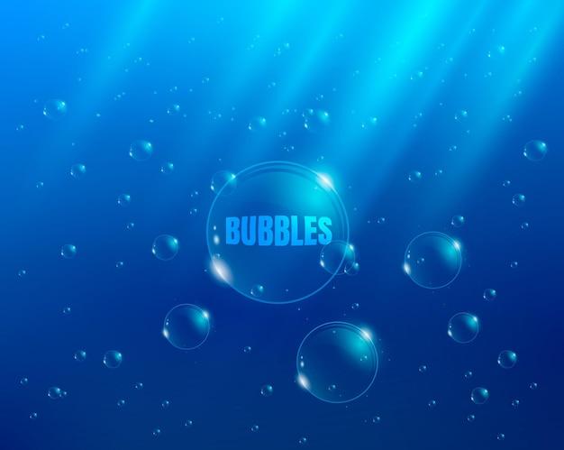 Bolle in acqua sfondo vettoriale con raggi di luce