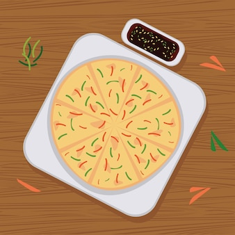 Buchimgae delizioso cibo coreano
