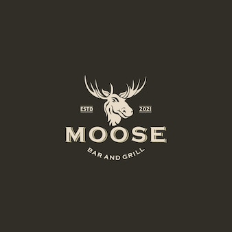 Buck stag deer renna elk antler head hunting logo design vector