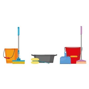 Spazzola del secchio e paletta per la spazzatura, illustrazione isolata a colori di vettore