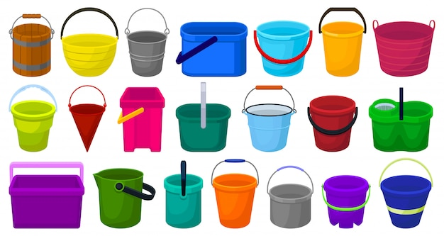 Icona stabilita del fumetto del secchio. illustrazione secchio di plastica su sfondo bianco.