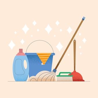 Secchio e icone domestiche