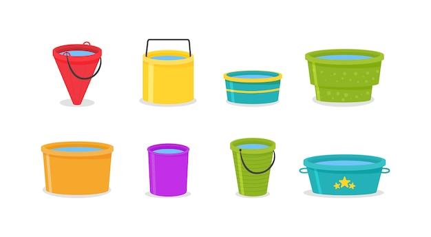 Il secchio è vuoto e pieno d'acqua. insieme dei secchi di plastica vuoti colorati 3d realistici con la maniglia. secchi d'acqua isolati su sfondo. illustrazione, .