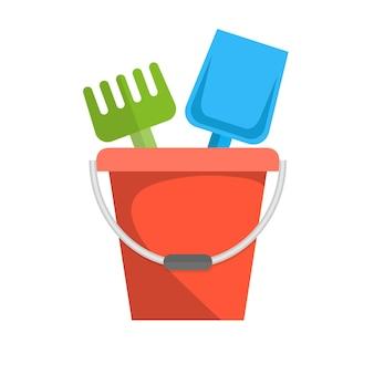 Secchio, rastrello e pala per bambini sandbox icon