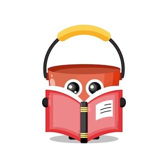 Secchio libro di lettura simpatico personaggio mascotte