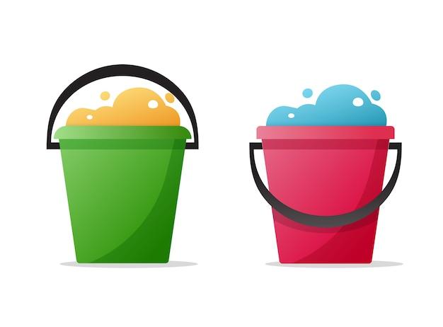Secchio d'acqua, secchio pieno di bolle di schiuma e set di icone piatto fumetto spazzatura spazzatura