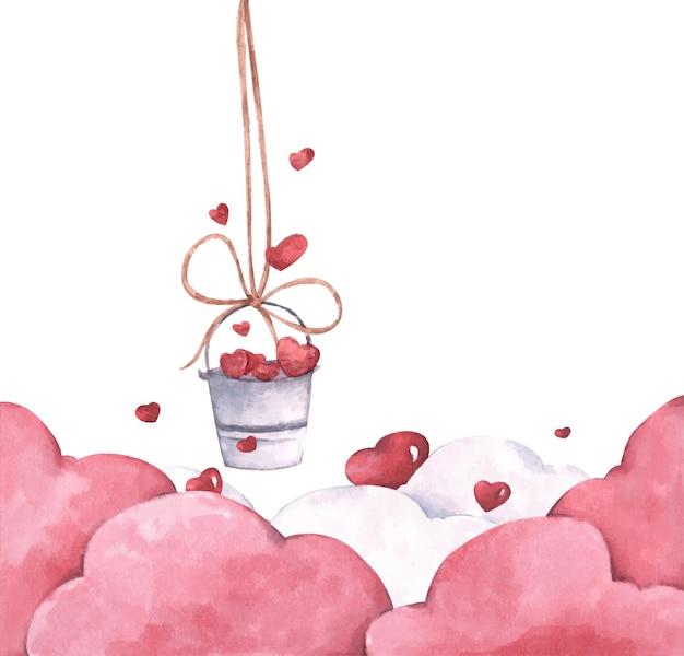 Secchio con cuori appesi alla corda con nuvole rosa. illustrazione dell'amore e del giorno di san valentino. illustrazione dell'acquerello.
