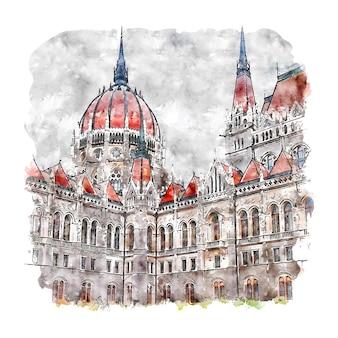 Illustrazione disegnata a mano di schizzo dell'acquerello di budapest ungheria