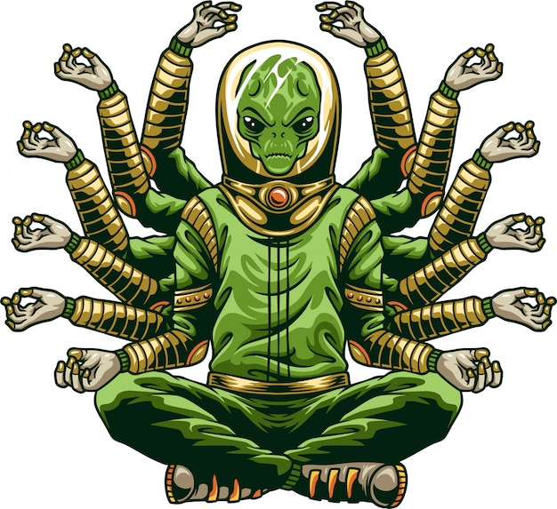 Alieno di buddha che fa yoga
