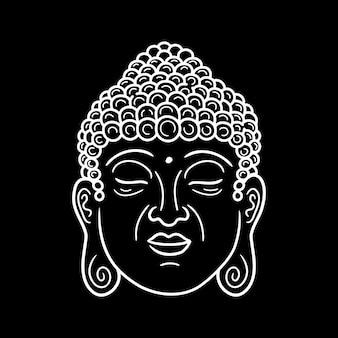 Ritratto di buddha in nero. linea del viso del buddha