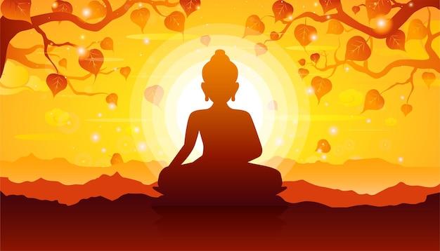 Buddha seduto sotto l'albero di bodhi su sfondo tramonto.