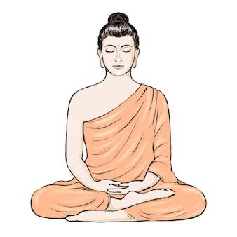 Illustrazione disegnata a mano di buddha seduto nella posizione del loto