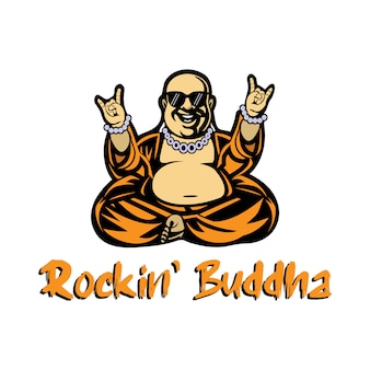 Mascotte buddista con un flusso di musica rock