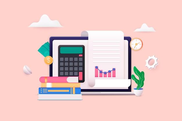 Concetto di gestione del budget sfondo economico con portafoglio e calcolatrice