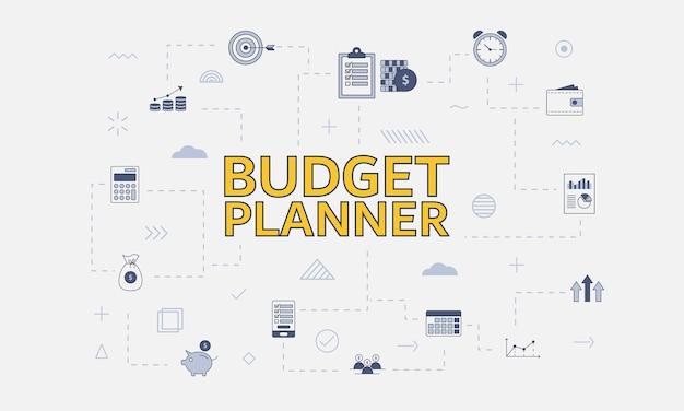 Concetto di pianificatore di budget con set di icone con grandi parole o testo al centro dell'illustrazione vettoriale