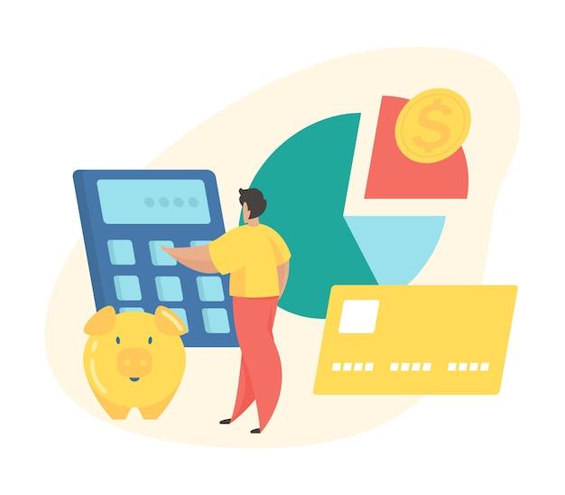 Concetto di pianificazione del budget. il personaggio dei cartoni animati maschile calcola il budget mentre si trova accanto al grafico a torta e al risparmio di denaro. illustrazione vettoriale piatta