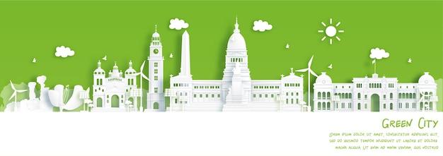 Punto di riferimento di bueno aires argentina nel concetto di città verde