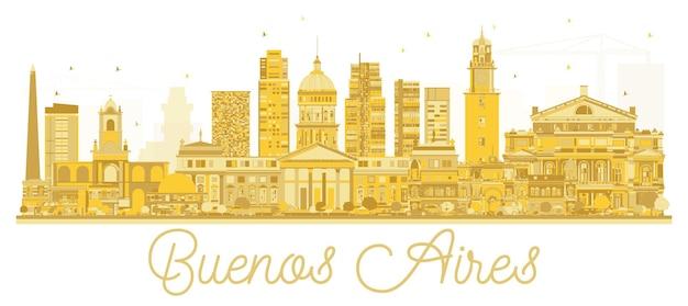 Siluetta dorata dell'orizzonte di buenos aires argentina. illustrazione vettoriale. concetto di viaggio d'affari. paesaggio urbano con punti di riferimento.