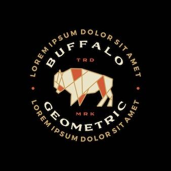 Buffalo bison badge t shirt tee merch logo icona illustrazione vettoriale