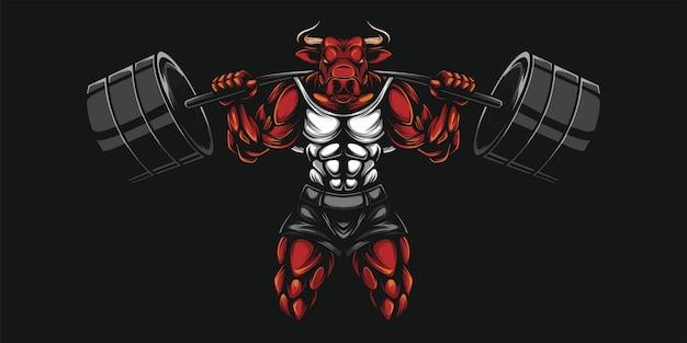 Buffalo e illustrazione pesante dumbell