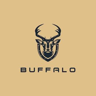 Modelli di design del logo retrò teschio di bufalo vettore premium