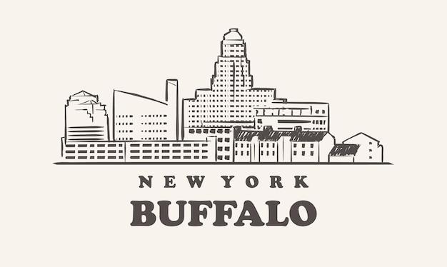 Lo skyline di buffalo, new york