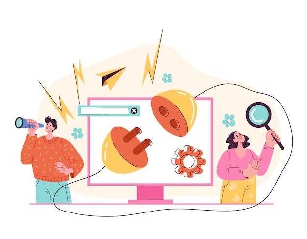Bug errore pagina supporto problemi disconnessione monitor messaggio graphic design fumetto stile moderno illustrazione