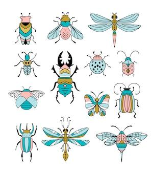 Collezione di insetti e insetti, farfalla, coccinella, scarabeo, coda di rondine, libellula