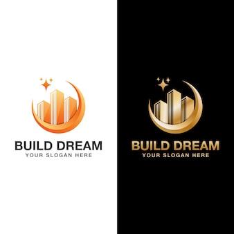 Costruisci logo da sogno, costruttore, modello di logo di costruzione