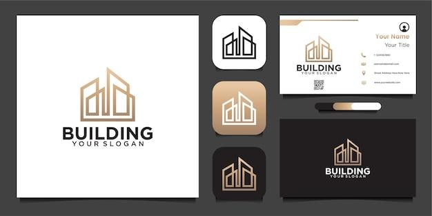 Crea il design del logo con linee e biglietti da visita