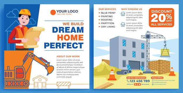 Costruisci la promozione della riparazione feed instagram in stile di design moderno