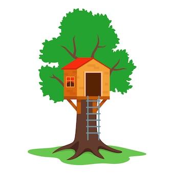 Costruire una casa sull'albero per bambini in legno. illustrazione piatta