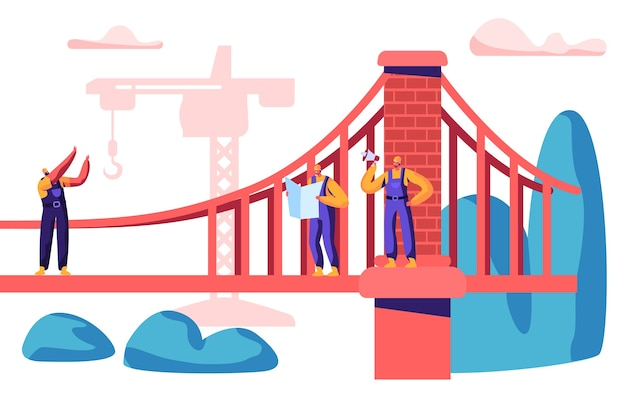 Costruttore e ingegnere costruiscono ponti con gru da cantiere. gruppo di dipendenti edificio cancello con mattoni. architettura di progetto del lavoratore con l'illustrazione piana di vettore del fumetto del macchinario di costruzione