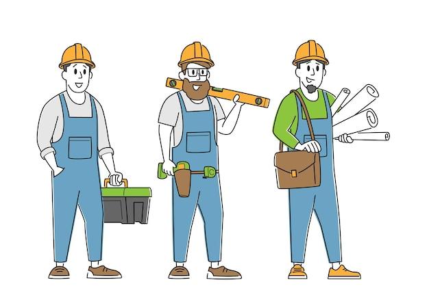 Caratteri del costruttore, dell'ingegnere o del caposquadra con strumenti e progetto. architetti con piano casa, edificio di architettura professionale