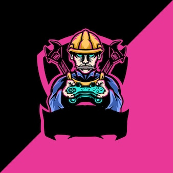 Builder esport mascotte logo illustrazione