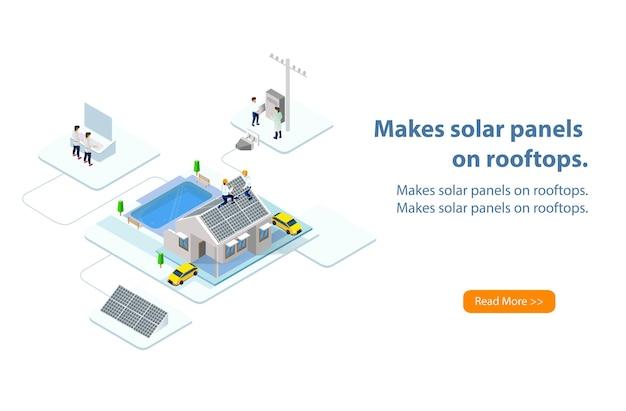 Costruttore che installa pannelli solari sul tetto della casa