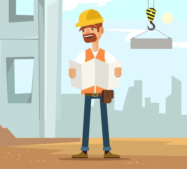 Il carattere del lavoratore dell'uomo del costruttore sulla costruzione legge il piano, illustrazione piana del fumetto