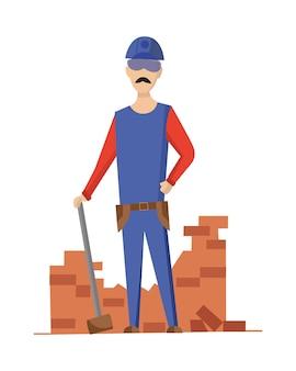 Costruttore. muratore. operaio edile con attrezzatura professionale durante l'attività edile. carattere di operaio edile professionale.