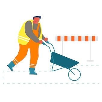 Builder spingendo la carriola lavorando sul sito in costruzione o riparazione stradale.