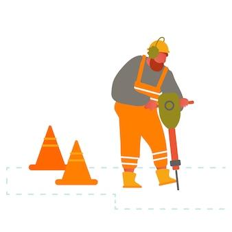 Builder con attrezzatura per trapano a martello pneumatico pneumatico