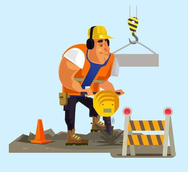 Carattere dell'uomo dell'operaio del costruttore che lavora, illustrazione piana del fumetto