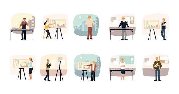 Set di costruttori e architetti, pianificazione, sviluppo e approvazione del progetto architettonico